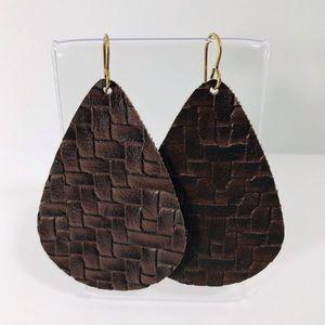 Flint+Feather Faux Leather Basket Weave Earrings